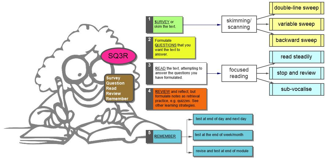 explain the sq3r method The sq3r (survey, question, read, recite and review) method has been viewed as the essential study method for textbook reading for the last 40 years the sq3r method requires students to survey, question, read, recite and review textbook material.